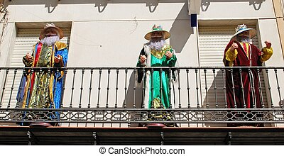 Three wise men statues on balcony - Lifesize models of the...