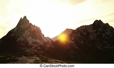 Mountain panorama landscape valley with stones in grass on...