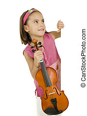 little girl with violin on a white banner isolated on white...