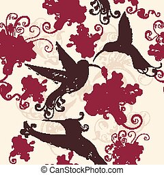 Beautiful seamsless wallpaper pattern with hummingbirds and...