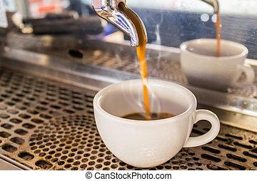 Close up Coffee machine making espresso in a cafe. - Coffee...