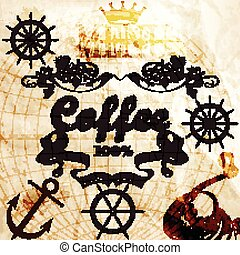 Coffee background on a old paper texture with map and coffee mill.eps