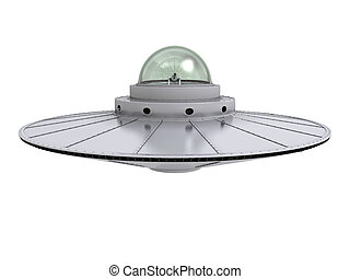 ufo 4 - An isolated hovering gray ufo with transparent dome...