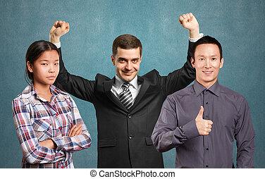 Asian team and businessman with hands up