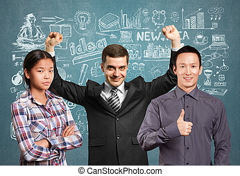 Asian team and businessman with hands up - Team and happy...