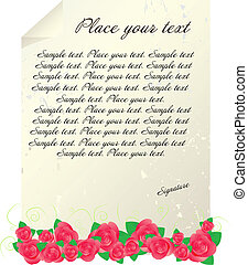 Vintage letter template with red roses and floral ornament...