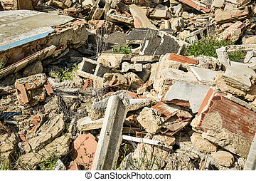 Rubble - Full frame take of construction rubble on a...