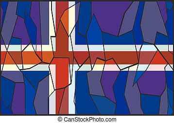 Iceland Flag Stained Glass Window - An Iceland flag stained...