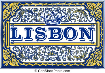 Traditional Tiles Azulejos Lisbon Yellow and Blue - Portugal...