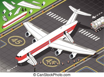Isometric White Airplane Landed in Front View - Ready for a...