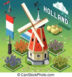Isometric Holland Barn - Windmill Building - Isometric Old...