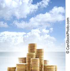 Money over abstract heaven and sea background