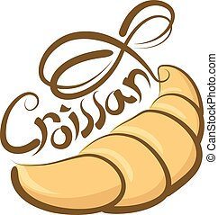 Vector Croissant - vector croissant with calligraphic...