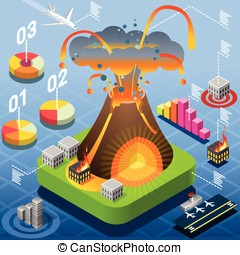 Isometric Volcano Eruption Infographic - Isometric Natural...