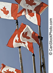 Canadian flags on fishing mast - Six canadian flags on the...