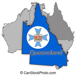 Queensland Territory And Flag - A Queensland map and seal on...