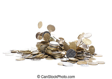 Money - Coin rain isolated on white background