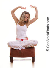 Young beautiful fit lady meditating - Young beautiful...