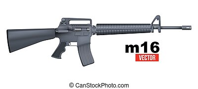 Realistic vector M16 rifle isolated on a white background -...