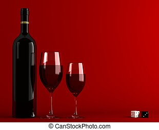 Red wine - Bottle and glass of wine