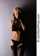 Sexy blond in erotic lingerie