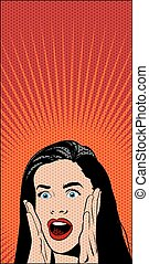 Shocked Pop Art Woman. Vector Illustration - Vector Pop Art...