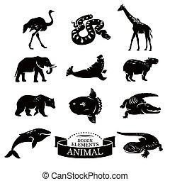 jogo, de, animal, ícones,