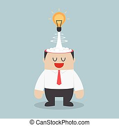 Light bulb of idea exploding from businessman head, VECTOR,...