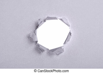 Paper concept hole in a shit of paper