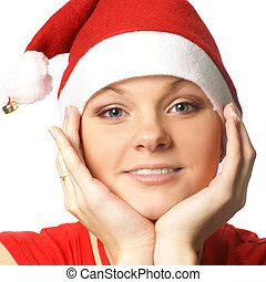Young attractive adult female playing santa