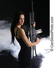 excitado, mulher, com, arma,