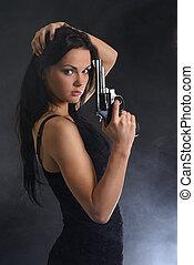 excitado, mulher, com, arma, ligado, esfumaçado,...