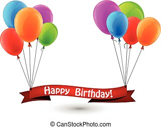 Happy birthday red ribbon background with balloons. - Happy...
