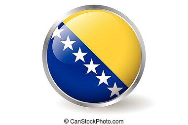 Bosnia Herzegovina flag button vector