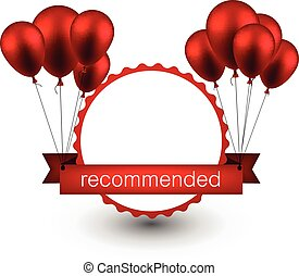 Recommended red ribbon background with balloons. -...