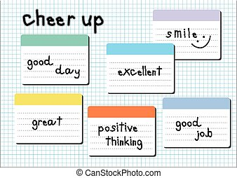 cheer up wording post it white graph background - cheer up...