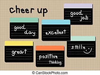 cheer up wording post it brown background - cheer up wording...