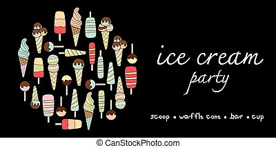 Ice cream party doodle pastel colors variation