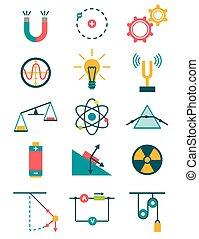 Physics icons set
