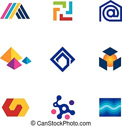 New technology innovative company app logo future network...