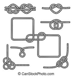 Nautical rope knots - Set of nautical rope knots, corners...