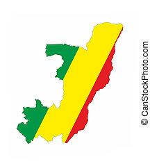 congo republic flag map