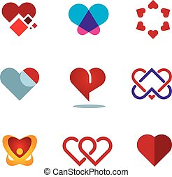 Different red heart shapes woman love symbol flower logo...