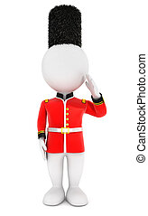 3d white people royal guard, isolated white background, 3d...