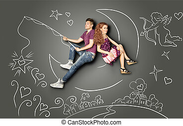On a silver moon. - Happy valentines love story concept of a...