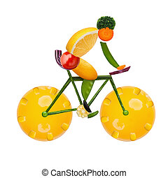 Healthy cyclist - Healthy food concept of a male cyclist on...