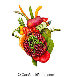 Veggie heart. - Healthy food concept of a human heart made...