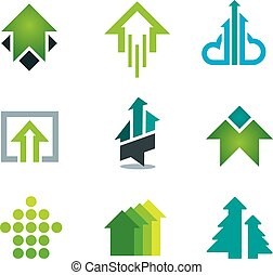 Green success business icons set in motivation and economy...
