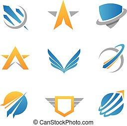 action, logo, et, icône,