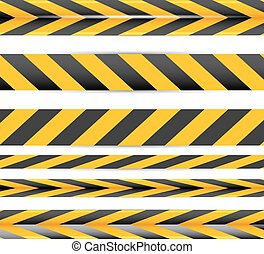 Yellow security warning tapes set Caution, Do not cross, Do...
